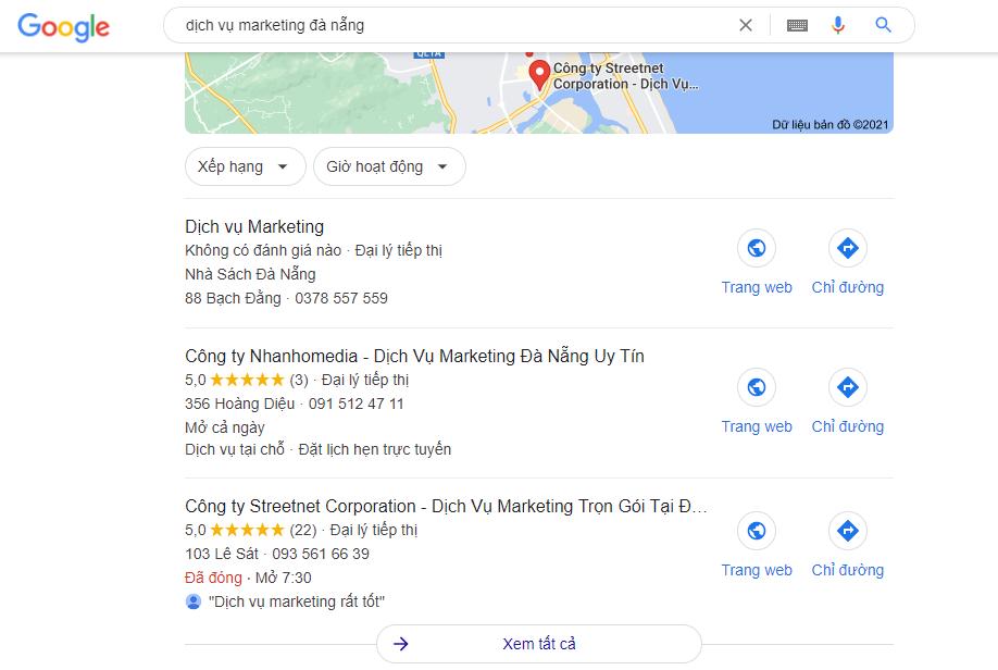 Nhanhomedia thực hiện dịch vụ SEO Google Map tại Đà Nẵng với từ khoá dịch vụ Marketing Đà Nẵng